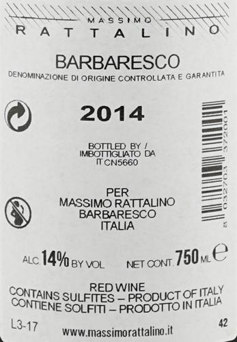 Massimo Rattalino Barbaresco DOCG Riserva Quarantadue42