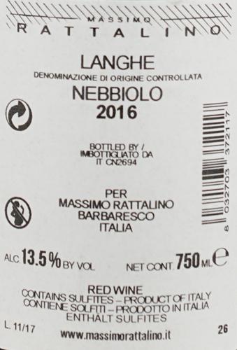 Massimo Rattalino Nebbiolo Langhe DOC Ventisei26
