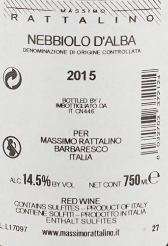 Massimo Rattalino Nebbiolo d'Alba DOC Ventisette27